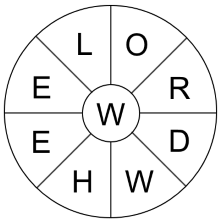 create a printable word wheel puzzle using one of our themes